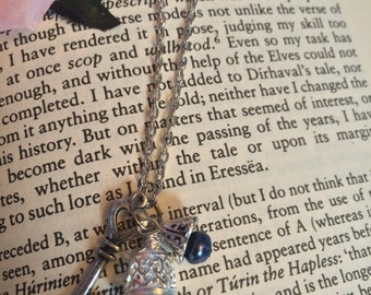 Silver Key Bell Charm Necklace