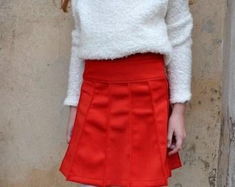 Girls high waisted midi skirt/Toddler girl skater skirt/Kids a line skirt/Knee length flared skirt/Structured skirt/Minimalist upcycle skirt