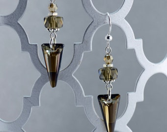 Bronze Crystal Dangle Earrings - E2667