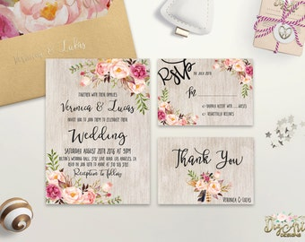 Floral Wedding Invitations Printable Boho Chic Wedding