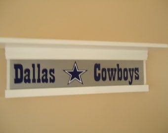 Dallas Cowboys shelf, Football themed shelf, custom shelf, personalized shelf. Sports shelf, Pro football decor, Dallas cowboy decor