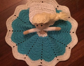 Crochet Disney Inspired Princess Elsa Doll, Lovey, Security Blanket