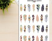 Colourful Feathers Planner Stickers | Aztec Tribal Boho Design (S-115)