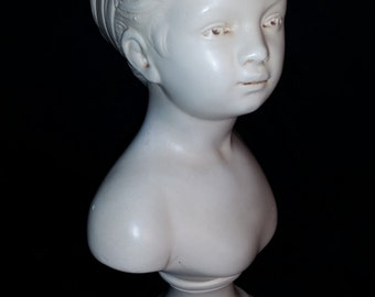 Vintage Chalkware Alexander Backer Girl Bust Statue