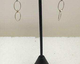 Sterling silver link fish hook dangle earrings.