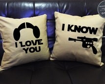 SALE !! I love you I know, Star Wars Pillow Cover Set,love pillow cover, Luke and Leia, Mr and Mrs,Wedding gift, Family pillow cover set