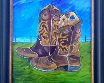 "Framed Original Oil - ""Th' Old Goin' Out Boots"" 16x20"" Canvas"