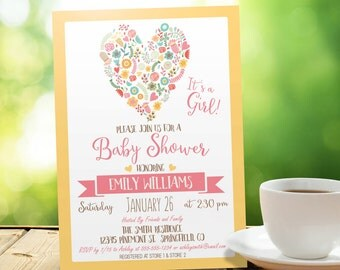 Pink & Yellow Baby Shower Invitation - Personalized Printable DIGITAL FILE