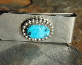 Native American ~ Sterling Silver and Turquoise Wide Tie Clip