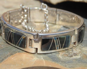 Zora Joe (Navajo) for B. G. Mudd ~ Sterling Silver Bracelet with Stone Inset ~ 61 Grams
