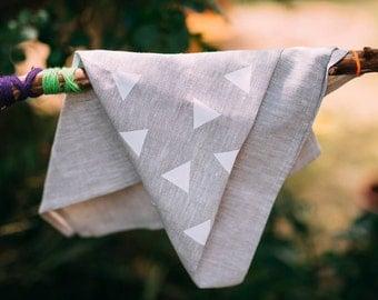 Screenprinted linen tea towel, triangle pattern