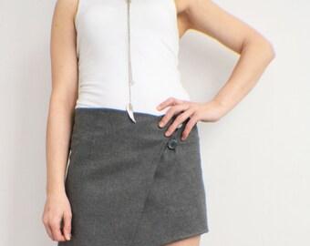 Asymmetrical Skirt, Wrap Skirt, Grey Wool Skirt, Boho Womens Clothing, A Line Skirt, Casual Skirt, Short Skirt, Gothic Skirt, Midi Skirt