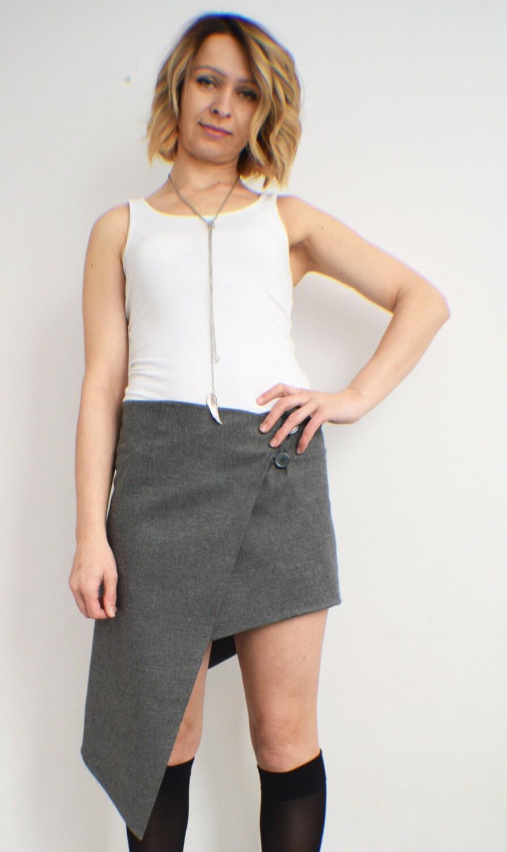 Asymmetrical Skirt Wrap Skirt Grey Wool Skirt Boho Womens