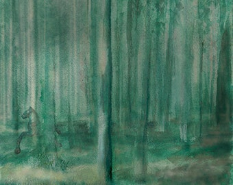 Into the forest, the horse -Mounted Print (Limited Edition) [ONE LEFT]