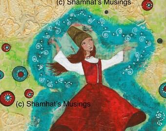 Mixed Media Fine Art Print - Sufi Dancer