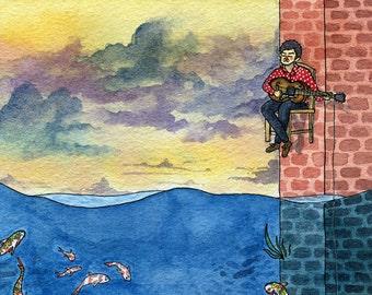 Fisherman Writer Watercolor Art Print 4x6