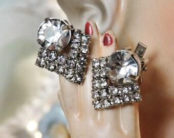 Vintage Rhinestone Clip On Earrings Wedding Bride Bridal Earrings Hollywood  Mid Century 1950s 50s Art Deco Revival Earrings Formal Evening