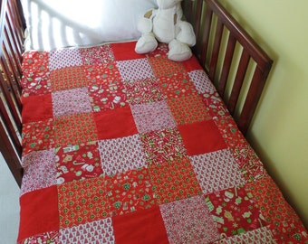 SALE. Christmas Toddler Handmade Patchwork Quilt