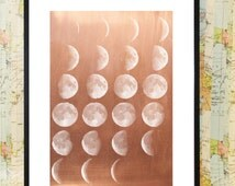 Copper phases of the moon matte poster typography print art home