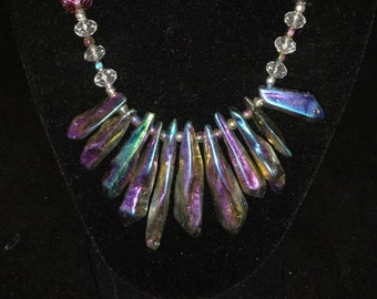 Crystal and Druzy Pendant Necklace