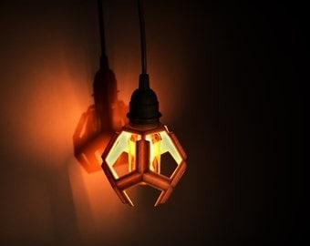 Pendant, Pendant light, plug in, 3D printed, industrial, lighting, hanging, hanging lamp, geometric design, polygon, vintage Edison bulb