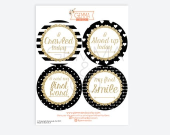 Black, White and Gold Baby Girl Milestone Sticker Set