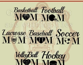 Mom SVG, Football Mom svg, Baseball Mom svg, Soccer Mom svg, Volleyball Mom svg, Basketball Mom svg, Cameo Silhouette