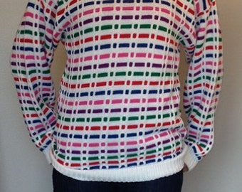 HUGE SALE----Vintage - Multi Color Sweater / Oversized Sweater - By Chris Ann Originals - Made in USA