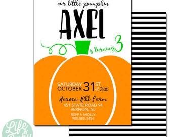 Pumpkin Patch Invitation | Our Little Pumpkin Invitation | Our Lil Pumpkin Halloween Invitation - 5x7 with reverse side