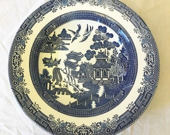 Vintage Churchill of England Blue Willow Pasta Serving Bowl, Plat A Spaghetti, Asian Pagoda Blue and White Serving Bowl