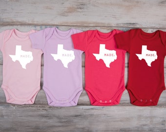 TEXAS Baby Outfit, Made in TEXAS Bodysuit, TEXAS Home State One Piece, Baby Girl Texas Outfit, Baby Boy Texas Outfit, More Colors Available