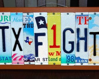 TX FIGHT / UT - custom made University of Texas Longhorn license plate sign