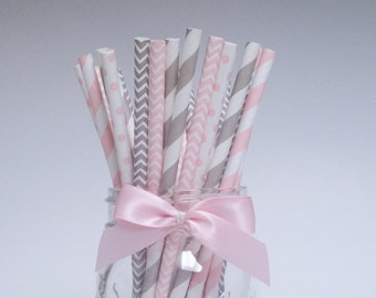 Pink and Grey Paper Straws, Paper Straws, Party Straws, Straws, Pink and Grey Straws, Pink Straws, Drinking Straws, Striped Straws
