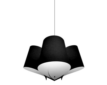 Statement lighting. Pendant lamp with multiple textil lampshades. Minimalist lamps.
