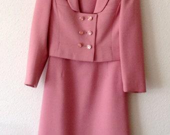 Vintage Original 1960s Pink Wool Dress Suit by Martinex
