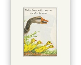 Goose story book art, Farm Animals matted and ready for frame, Perfect gift for your favorite goose Lover! Quack!