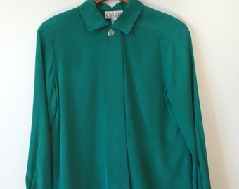 green coral blouse