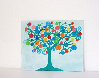 green tree of life acrylic painting on canvas panel