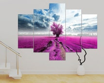 5 panel Canvas Surreal (over 1 metre)  36 x 50 inch Magenta Tree Art Print Canvas Wall Art Unframed Canvas Contemporary Modern!