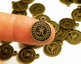 5 Pcs -  16x13mm Antique Bronze Om Charms - Yoga Charms - Jewelry Supplies - Charms - Craft Supplies