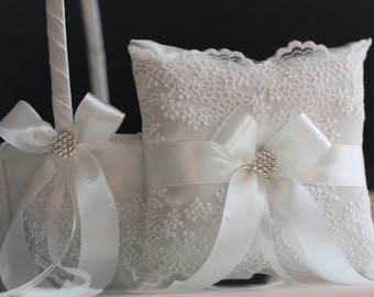Lace Flower Girl Basket, Lace Wedding Basket, Ring Bearer Pillow Wedding ring pillow Off White Bearer pillow White Wedding pillow basket set