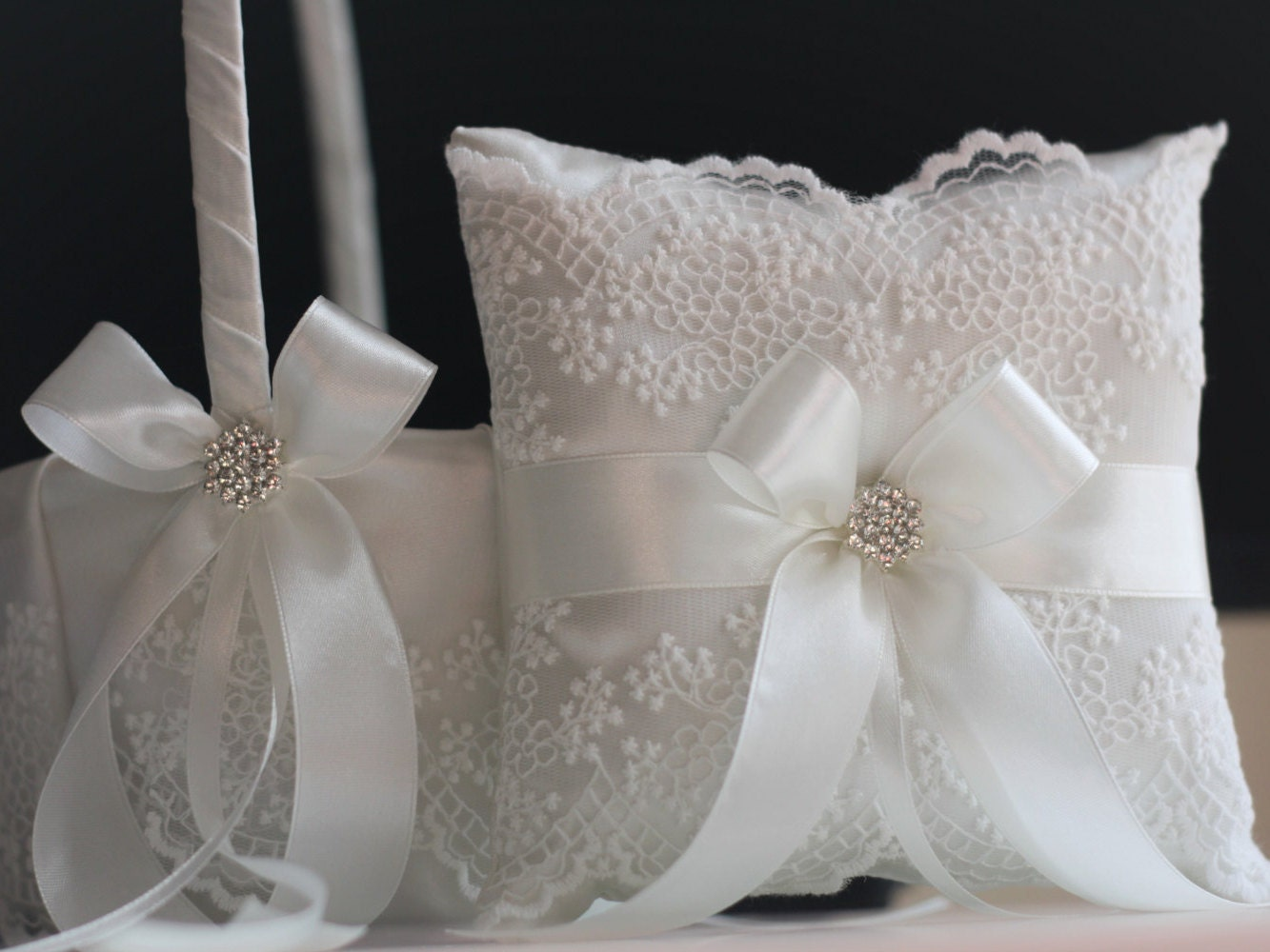 How To Make A Lace Flower Girl Basket : Lace ring bearer pillow basket set flower girl