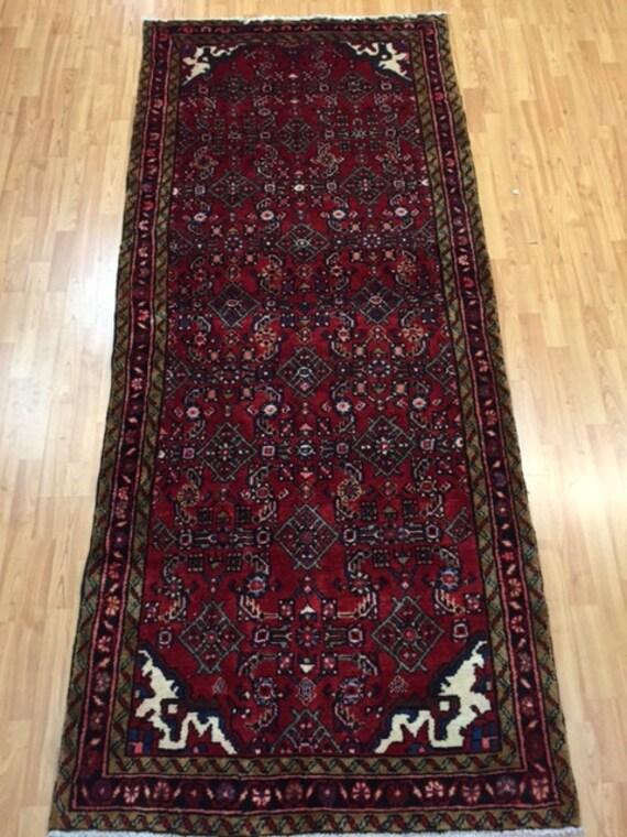 "3'7"" x 8'5"" Persian Hamadan Floor Runner Oriental Rug - Hand Made - 100% Wool - Vintage - 1980s"