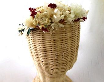 Flower crown,wreath, tiara, preserved, dried , flowers, wreath, boho, fairy,wild,ivory,burgundy,roses,dried,flowers,white,ivory,rose
