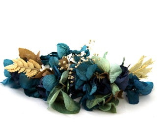 Flower,clip,barrette,hair accesorie,peony,dried flowers,hydrangea,blue,green,navy,natural,wild,boho,chic,fairy,woodland