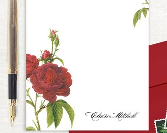 personalized notePAD - DARK RED ROSES - stationery - stationary - floral - botanical - flower - women's letter writing paper