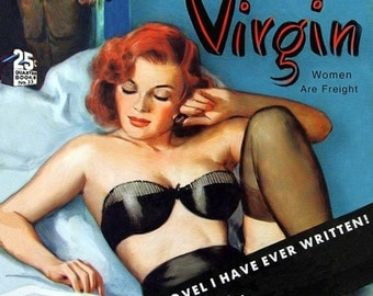 pulp art print Naughty Virgin—vintage pulp paperback cover repro