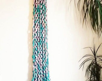 Chunky Knit Wall Hanging. Bright Colours. Summer Decor. Pom poms. Textile Wall Art.