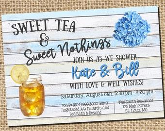 Couples Shower Invitation, Bridal Shower Invitation, Sweet Tea, Sweet Nothings, Shabby Chic, Rustic, Country, Hydrangeas, Digital Printable