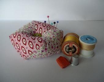 Pink patterned pin cushion, biscornu, patchwork